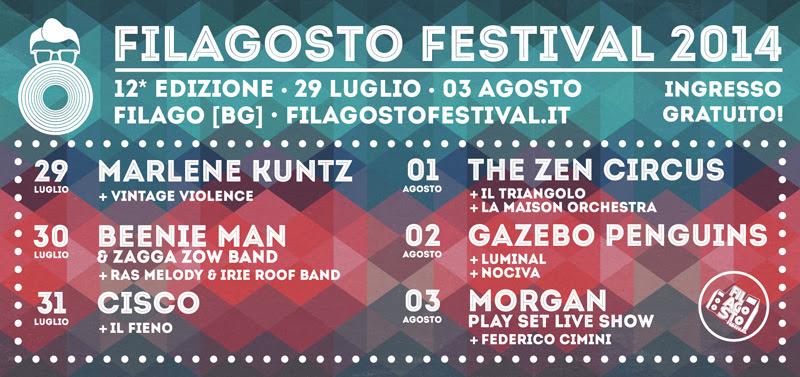 I gruppi del FILAGOSTO FESTIVAL 2014